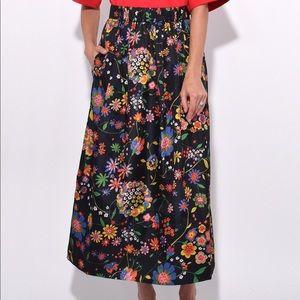 Tibi Floral Smocked Waistband Skirt